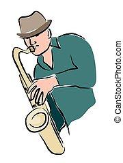 Sketchy sax player