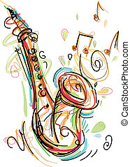 Sketchy Saxophone - This Saxophone Vector Image was digital...