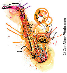 Watercolor Saxophone was analog created and traced in Vectors.