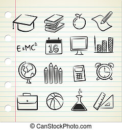 sketchy, school, pictogram