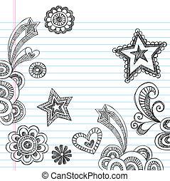 sketchy, scuola, set, indietro, doodles