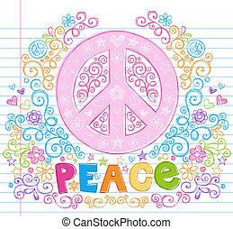 sketchy, señal, vector, doodles, paz