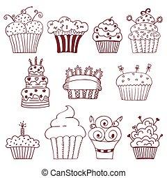 Sketchy set of hand drawn cupcakes