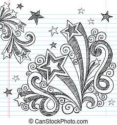 Hand-Drawn Back to School Starbursts and Stars Sketchy Notebook Doodles Vector Illustration Design Elements on Lined Sketchbook Paper Background