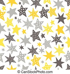 Sketchy Stars Seamless Repeat Pattern. Cute vector Illustration.