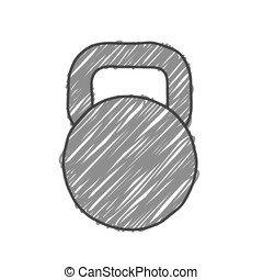 Sketchy Style Kettlebell Vector Illustration.