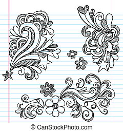 Sketchy Swirly Star Doodles Vector