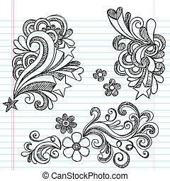 sketchy, swirly, stella, doodles, vettore