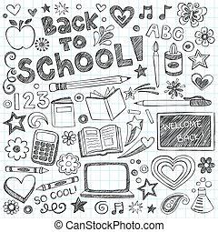 sketchy, szkoła, komplet, wstecz, doodles