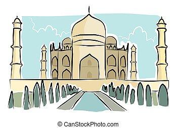 Sketchy taj mahal - A sketchy image of the taj mahal in...