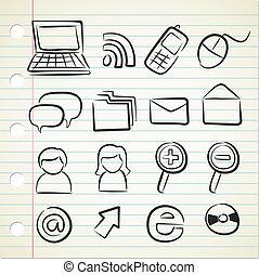 sketchy, technologie, icône