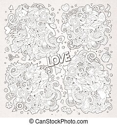 Sketchy vector doodles cartoon set of Love designs