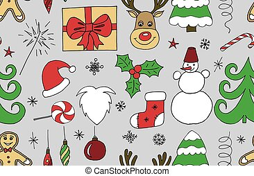 Sketchy vector hand drawn Doodle cartoon seamless pattern of objects and symbols on the Merry Christmas