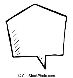 Sketchy vector speech bubble, doodle isolated illustartion