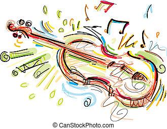 Sketchy Violin - This Violin Vector Image was digital...