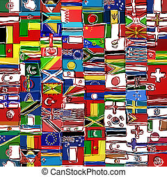 sketchy, wereld, vlag, montage
