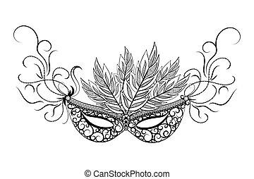 Skethc carnival mask. - Sketch carnival mask. Black outline ...