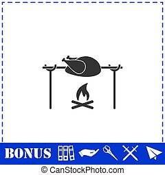Skewer Chicken icon flat. Simple vector symbol and bonus ...