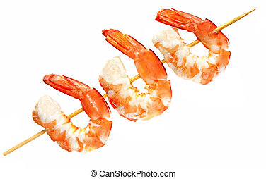 Bamboo skewer with three king prawns, isolated on white.