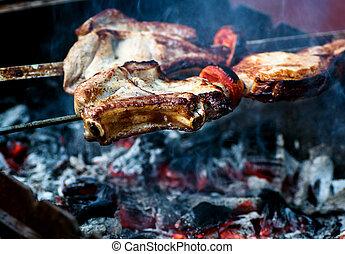 skewers fire-roasted meat