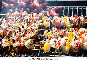 skewers on a barbecue