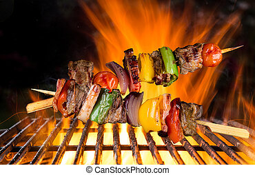 Skewers on the grill.