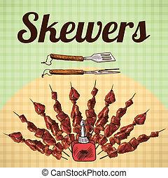 skewers, schets, poster