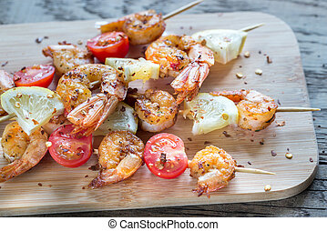 Skewers with shrimps