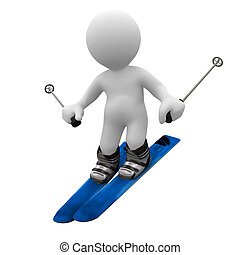 Ski - 3d human speed up with ski in foot