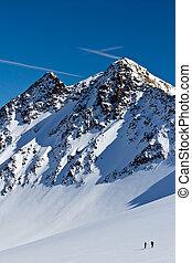 ski-alpinist, spitze, eisberg