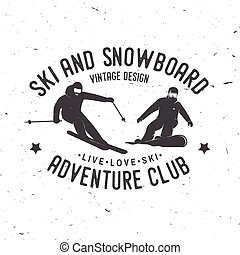 Ski and Snowboard Club. Vector illustration.