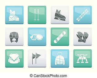 ski and snowboard equipment icons over color background