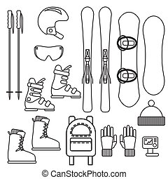 Ski and snowboard gear vector line icon set.