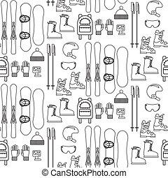 Ski and snowboard line equipment seamless pattern.