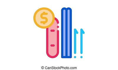 ski and snowboard rent Icon Animation. color ski and snowboard rent animated icon on white background