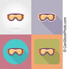ski and snowboarding glasses flat icons vector illustration