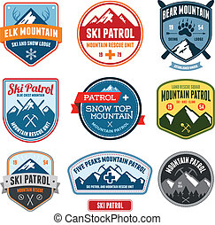 Ski badges - Set of ski patrol mountain badges and patches