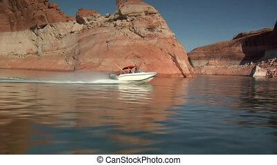 ski boat in red canyons Lake Powell Utah