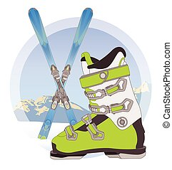 ski boot and pair of skis on snow with mountains in the background