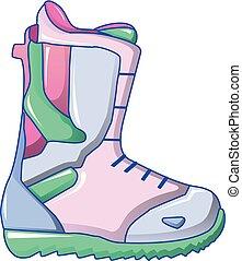 Ski boot icon, cartoon style