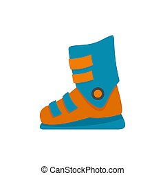 Ski boots icon, flat style