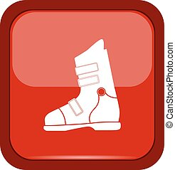 Ski boots icon on a red button
