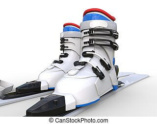 Ski boots on white background