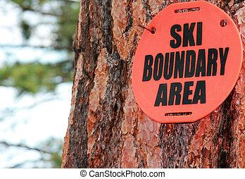 Ski Boundary Sign