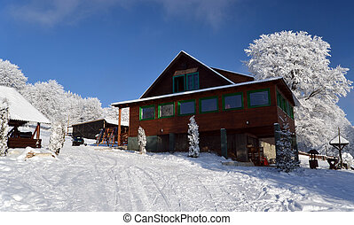 Ski cabin in beautiful landscape in Alps