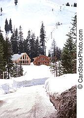 Ski Cabin - Ski cabin in the snow.