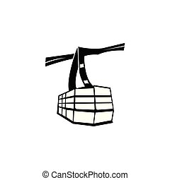 Ski cable lift icon for ski and winter sports