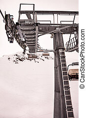 Ski chair lift on mountains