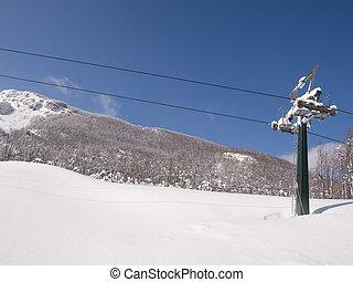 ski, chairlift, heraus, von, jahreszeit, witih, snow.