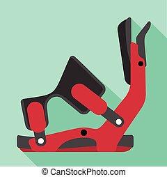Ski clamp icon, flat style